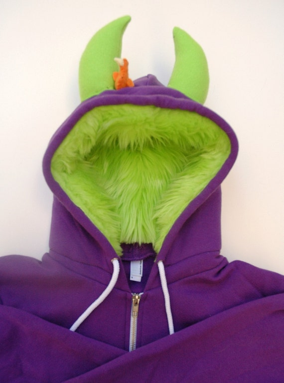 My (Big) Monster Hoodie - Purple and lime - Adult Unisex Large