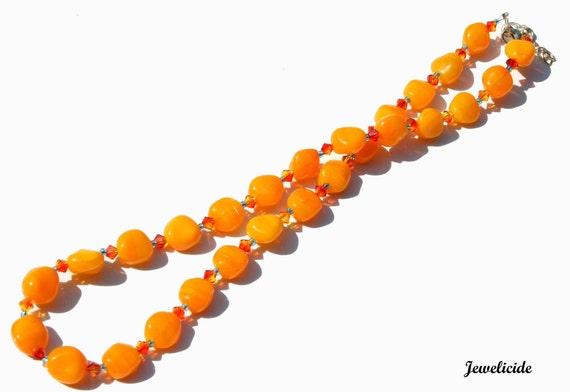 Orange Beaded Necklace, Bright Tangerine Swarovski Jewelry