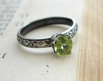 Stackable Peridot Gemstone Ring Sterling Silver  Solitaire Promise Ring