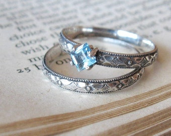 Engagement Ring Square Blue Topaz Gemstone Promise Ring or Stacking Ring