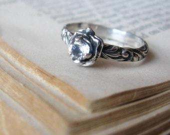 Flower 4mm Gemstone Ring Sterling Silver Promise Ring