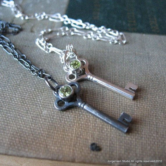 Peridot Key Pendant Sterling Silver with August Birthstone Gemstone in Bright Finish
