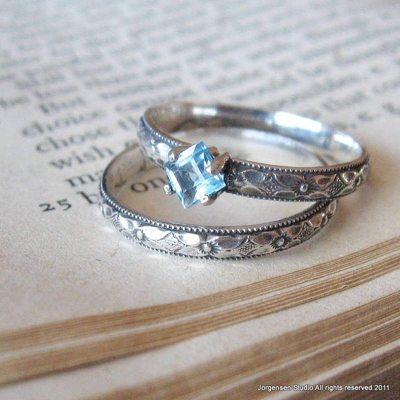 Square Blue Topaz Gemstone Engagement Ring By Jorgensenstudio