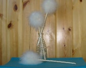 4 Feather Wishie Wands with satin ribbon stems, dandelions, puff balls, feather flowers