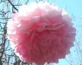 12 Unfurled tissue paper balls, poms with ribbons, 7 to 9 inch diameter