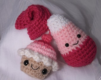 Pink Themed Crochet Set - Cupcake Plush no. 247, happy pink candy corn, pink fortune cookie
