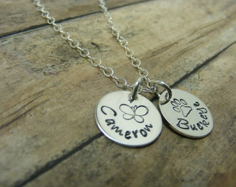 Mommy necklace-Handstamped-personalized-sterling silver necklace- Two disc with design stamps