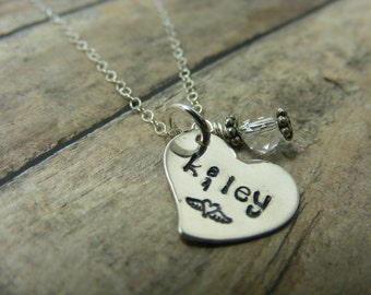 Handstamped-personalized necklace-angel wings -remembrance-heart