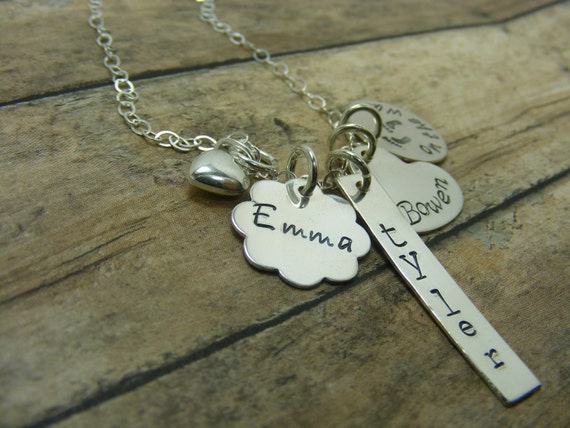 Mommy necklace-Handstamped-personalized-sterling silver necklace- One rectangle-one flower-one heart- one circle