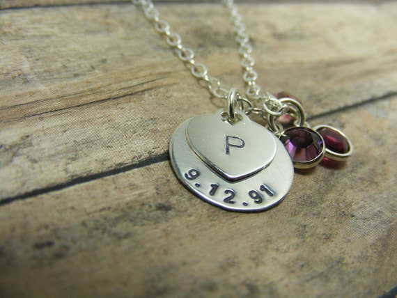 Handstamped jewelry-Personalized jewerly-Sterling silver heart and date necklace with charms