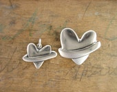Mother Daughter Planet Heart Set - Two Sterling Silver Heart Pendants for Mom and Daughter