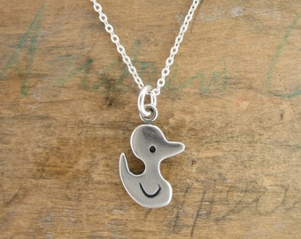 Sterling Duck Necklace - Silver Rubber Ducky Pendant