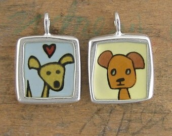 Sterling Silver and Enamel Dog Necklace - Reversible Yellow Dog and Brown Dog Pendant