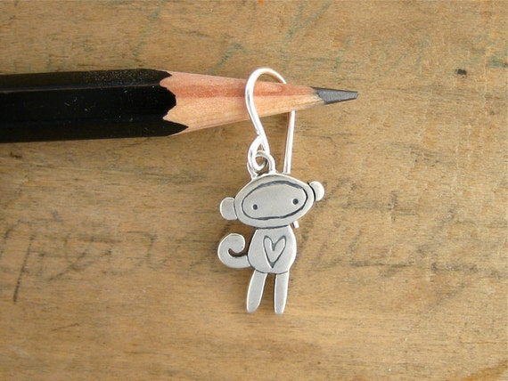 Little Sock Monkey Earrings - Sterling Silver Monkey Earrings