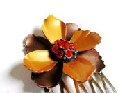 Autumn Glamour v2 - Vibrant Mocha Brown, Gold and Fiery Orange Vintage Enamel and Rhinestone Jewel Hair Comb - CLEARANCE