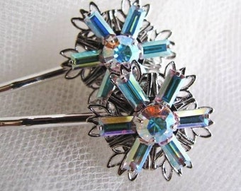 Winter Sparkle - Shining Swarovski Snowflake / Flower Hair Pins - Set of Two, In silver