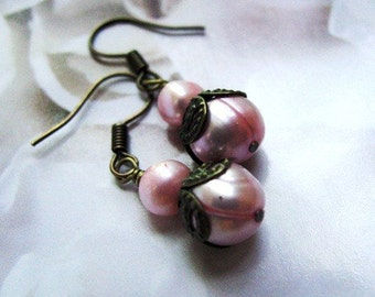 Vintage Rose No.5 Blush Pink Earrings with Antiqed Brass Accents, Wedding, Bridal or Bridesmaid Jewelry
