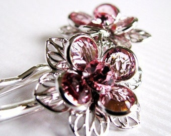 Pink Blossom - Swarovski Flower Hair Pin In Pink Crystal