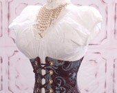 Waist 20 to 22 Chocolate Brown and Teal  Medallion Wench Corset