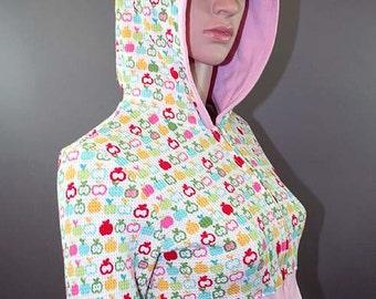 Cropped Pink Apple Thermal Zip-Up Hoodie Jacket ON SALE