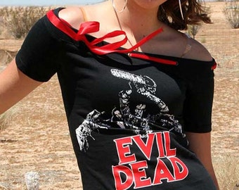 Evil Dead Horror Movie Shirt Off Shoulder Ribbon Top Halloween Goth Horror Merchandise Army of Darkness Ash vs the Evil Dead