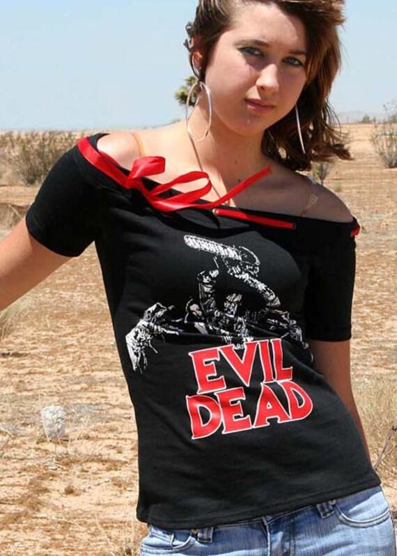 Evil Dead Horror Movie Off Shoulder Ribbon Top