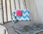 New Aqua Chevron Wristlets accented with pink flower Ready to ship cell phone, iphone, camera gadget bag
