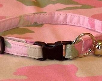 Cat Collar - Pink Camo - Breakaway Safety Cute Fancy Cat Kitten Collar