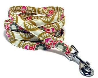 """XS Leash -  Fancy Retro - 3/8"""" wide - 4 or 6 Feet long for Cats and Small Dogs"""