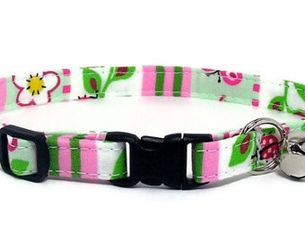 Cat Collar - Cute Ladybugs, Flowers and Stripes - Breakaway Safety Cute Fancy Cat Kitten Collar