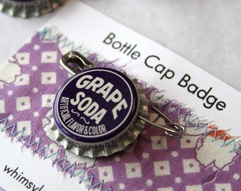 Vintage Grape Soda Bottle Cap Badge