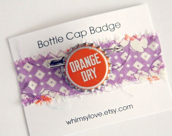 Vintage Orange Dry Soda Bottle Cap Badge