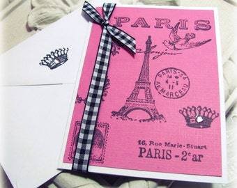 Paris Blank Card.Eiffel Tower.Parisian Chic.All Occasion Card.Blank.French.Paris Bridal Shower.Made to Order.handmade blank card