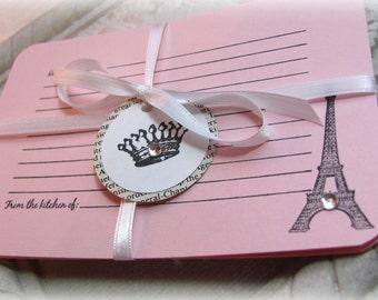 Paris Handmade Recipe Cards.Light PInk.Set of 6.Eiffel Tower,Fleur de Lis.Bridal Shower.Wedding.Paris Party.Party Favor.Wedding Favor.Paris