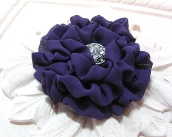 Eggplant Flower Hair Clip.Brooch.PIn.Purple Chiffon Fabric.Aubergine.Plum.Dark Purple.Bridesmaid.Wedding.Hair Piece.Hair Accessory.headpiece
