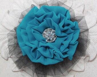 Teal & Black Flower Brooch.Hair Clip.Dark Turquoise Flower.Light Teal Flower.headpiece.bridesmaid.hair accessory.Pin.fascinator.hair piece