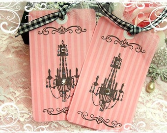 Pink Chandelier Gift Tags.All Occasion.French.Hang Tags.Paris.Parisian.Vintage Style.Pink Stripe.Bridal Shower.Wedding.Birthday Party.Chic