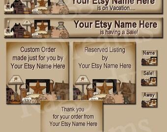 Premade ETSY Shop Set - Premade Etsy Banner - Etsy Shop Design - Custom - Reserved - Primitve Blessings Collection