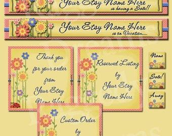 Premade ETSY Shop Set - Premade Etsy Banner - Etsy Shop Design - Scrapbook Spring  Pink and Blue Flowers
