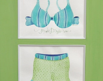 692 BRA and BOXERS set  ORIGINALS 8x10 ea Matted for 20x16 frame
