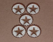 Set of 5 Primitive Miniature Rusty Rustic Country Barn Star Look Sealed Star 1 inch Bottle Caps Americana July 4 Bowl Fillers Ornies Favors