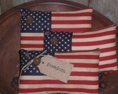 Set of 3 - Primitive - Patriotic - Rustic - USA - July 4th - Americana - American - Flag - Bowl Fillers - Ornies - Tucks - Shelf Sitters