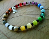 Custom HOPE Rainbow Cat's Eye Beaded Cancer Awareness Bracelet- in YOUR size