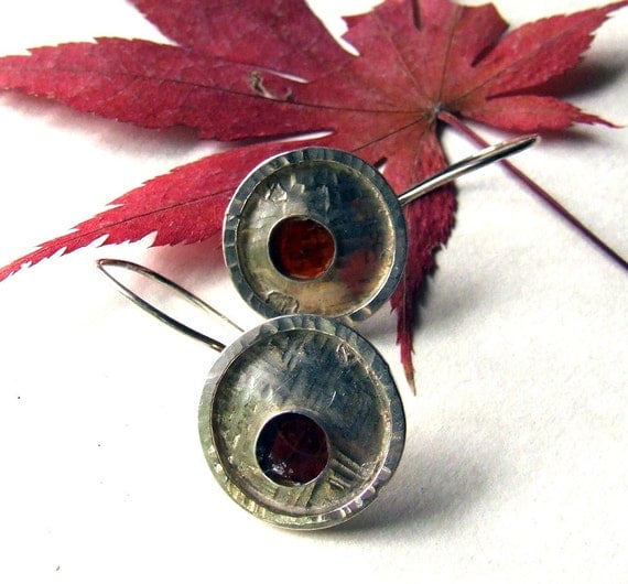 SALE - Birch Bark - Sterling Silver and Resin Mod Earrings from the Captured Collection - One of a Kind