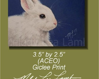 Bunny Rabbit Miniature Art by Melody Lea Lamb ACEO Giclee Print