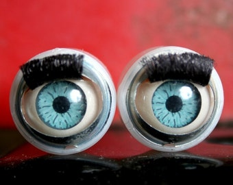 Doll Eyes German Halloween 1 Pair CURLY Eyelashes MOVEABLE Eyelids Jewelry SUPPLIES Altered Art Curiosity Cabinet Blue Eyes  78c