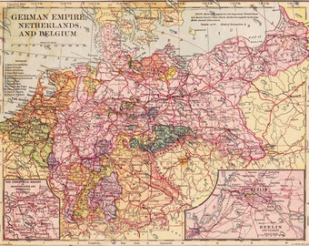 map of the German Empire from 1900, a printable digital download, collage sheet no. 175