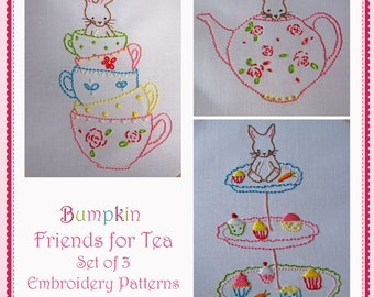 Friends for Tea - Hand Embroidery Set 3 PDF Bunny Patterns - Instant Download