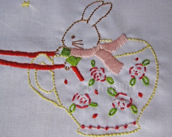 Flight of the Teacup - Hand Embroidery PDF Pattern - Instant Download