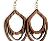SALE: Stout Nouveau Drop earrings, Walnut